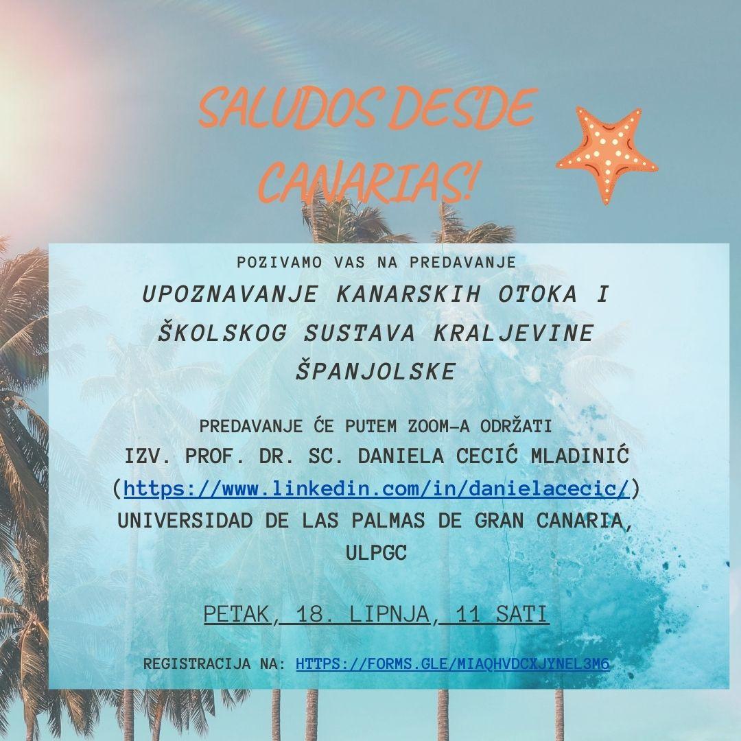 Upoznavanje Kanarskih otoka i školskog sustava Kraljevine Španjolske (18.6., 11 sati)